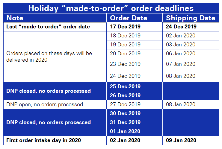 Holiday ordering deadlines 2019