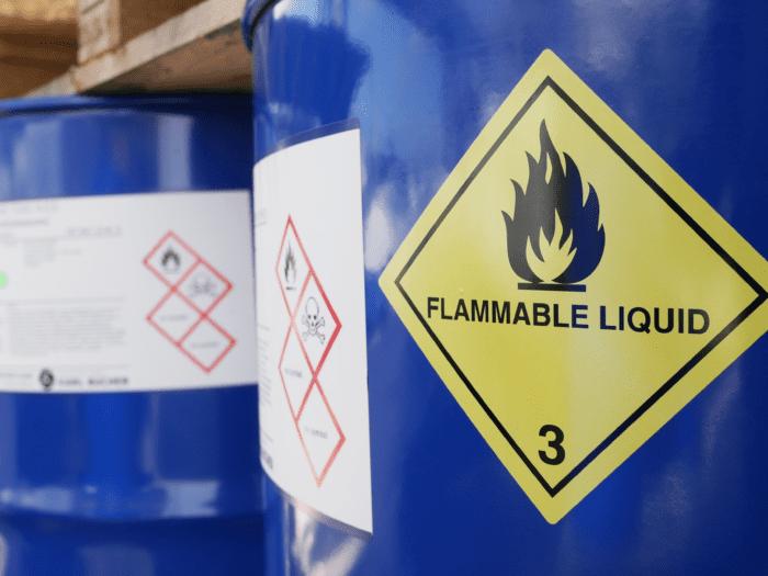 Chemical barrel warning labels